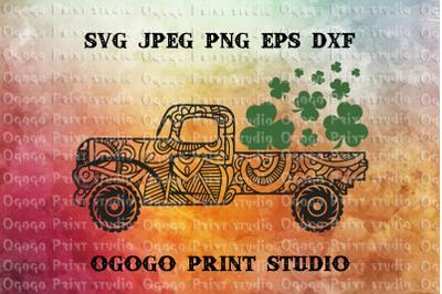 St Patrick's Day Truck Svg, Shamrock SVG, Zentangle SVG