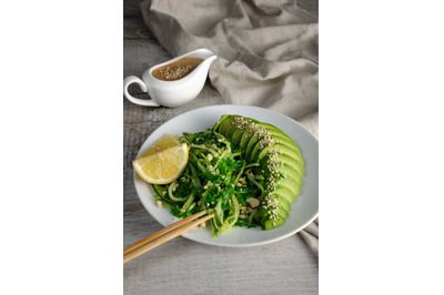 Chukka salad, cucumber noodles with avocado and peanut brown sauce in