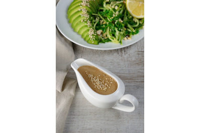 Peanut  Peanut brown sauce for chukka salad with cucumber noodles and