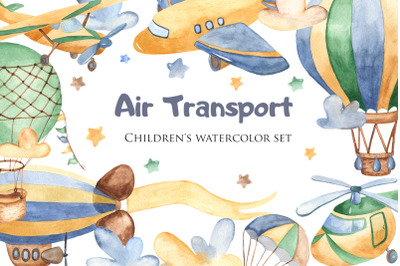 Air Transport. Children's watercolor set.