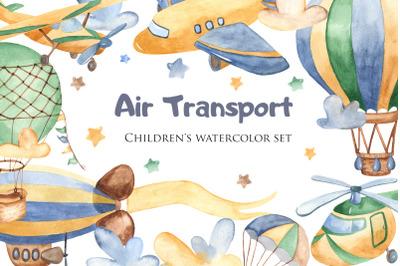 Air Transport. Childrens watercolor set.