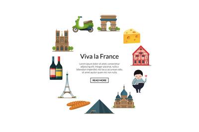 Paris elements. Vector cartoon France sights on white