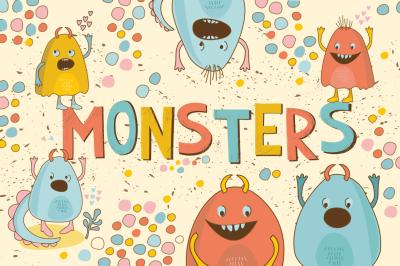 Cute Little Monsters (vector, jpg, png)