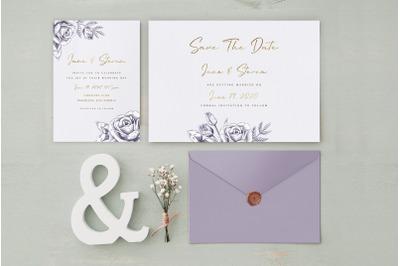Purple Gold Wedding Invitation Suite