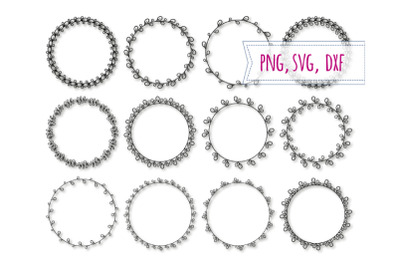 12 Round elegant frames svg. Floral circle clipart