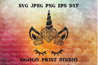 Unicorn SVG, Zentangle SVG, Mandala svg, Animal svg
