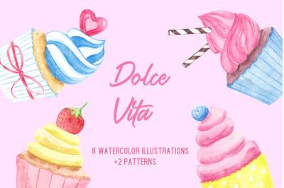 Dolce Vita. Watercolor set.