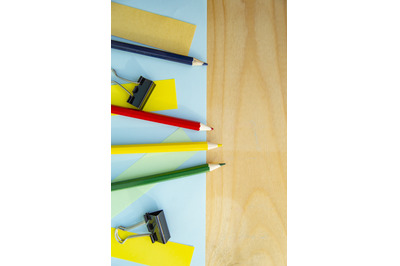 Empty space for text and stationery on wooden background. Layout for d