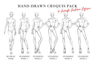 Female Fashion Figure Croquis Pack Template for Fashion Illustration