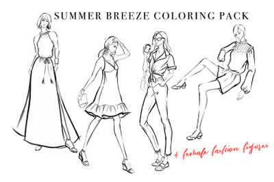 Female Figure Template Coloring Pack for Fashion Illustration