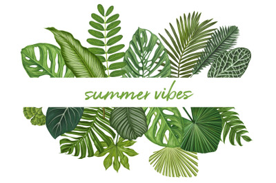 Summer vibes. Exotic leaves set.