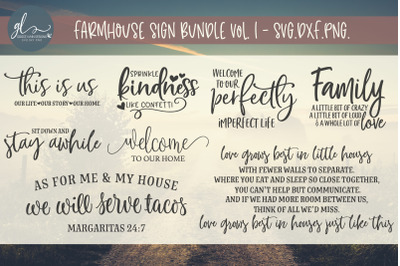 Farmhouse Sign Bundle - 8 Designs - SVG, DXF & PNG