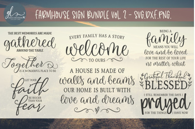 Farmhouse Sign Bundle Vol. 2 - 8 Designs - SVG, DXF & PNG