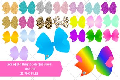 Big Bright Colorful Ribbon Hair Bows Clip Art Bundle