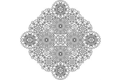 Outlined circular geometric pattern over white