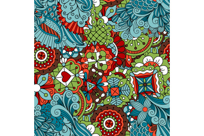 Full frame seamless floral pattern colored green