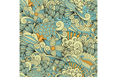 Pretty yellow and blue background made of patterns
