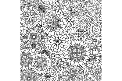Seamless round floral pattern with pinwheel shapes