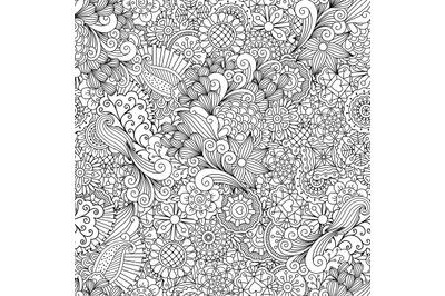 Full frame outline of elegant seamless pattern