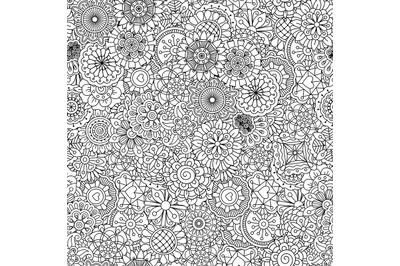 Full frame outline of circular seamless pattern