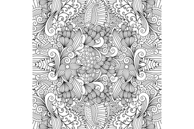 Seamless pretty textile pattern with floral shapes