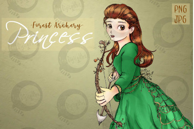 Whimsical Forest Archery Princess   Fantasy Clip Art   PNG/JPG