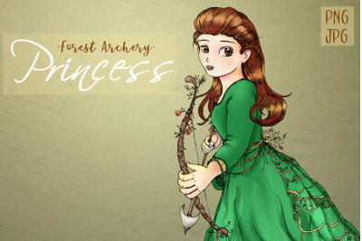 Whimsical Forest Archery Princess | Fantasy Clip Art | PNG/JPG