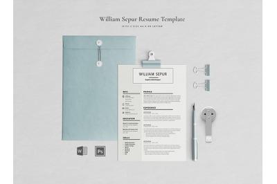 William Resume Template / CV Template / Professional Resume