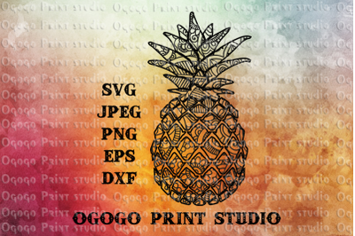Pineapple SVG, Fruit svg, Zentangle SVG, Mandala svg, Cricut