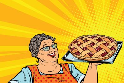 Old joyful retro woman with berry pie