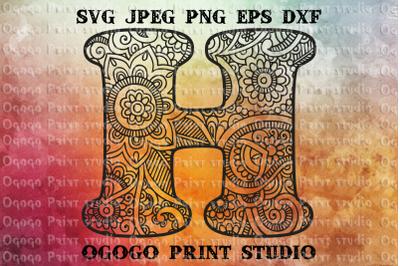 Alphabet Letter SVG, Floral font, Mandala svg, Zentangle SVG