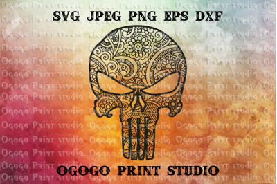 Punisher Skull SVG, Zentangle SVG, Mandala svg