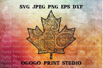 Maple Leaf SVG, Zentangle SVG, Autumn Mandala svg, Cricut