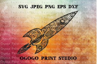 Rocket svg, Space svg, Zentangle SVG, Mandala svg, Cricut