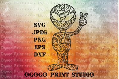 Alien Svg, Zentangle SVG, Peace svg, Mandala svg, UFO svg