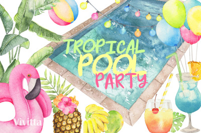 Watercolor Tropical Pool Party