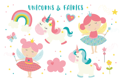 Fairy and unicorns pastel