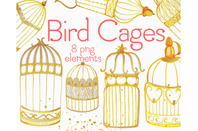 Bird Cages Watercolor Clip Art