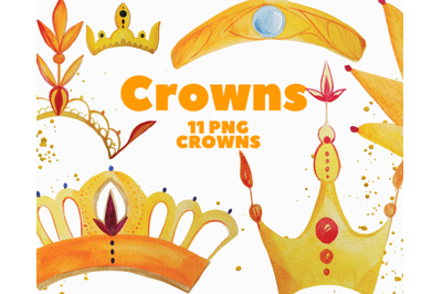 Gold Crowns Watercolor Clip Art