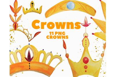 Gold Crowns Watercolor Clip Art