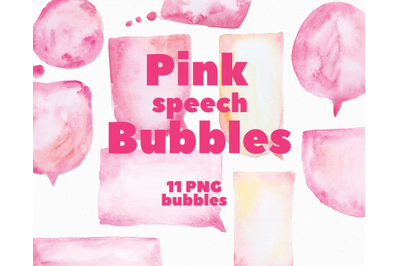Pink Watercolor Speech Bubbles