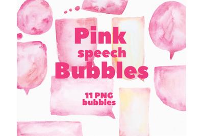 Pink Watercolor Speech Bubbles