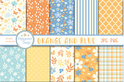 Orange and Blue pattern papers