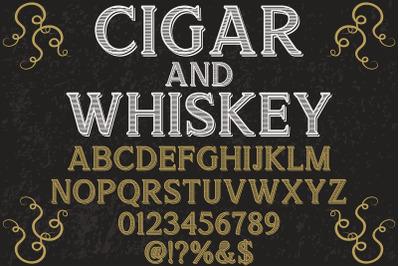 vintage alphabet Typeface handcrafted vector label design cigar