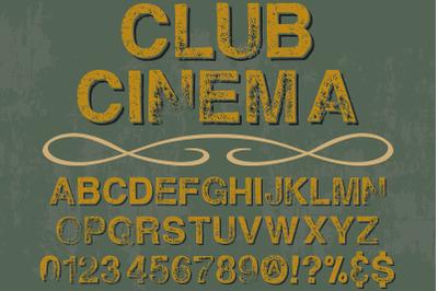vintage alphabet Typeface handcrafted vector label design cinema