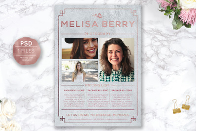 Pricing Guide Template, Photography Pricing Design