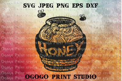 Honey svg, Sweet svg, Mandala svg, Zentangle Svg,Cricut file