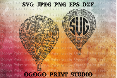 Hot air balloon svg, Monogram Frame, Zentangle svg, Mandala