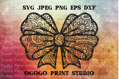 Bow SVG, Zentangle SVG, Ribbon svg, Mandala svg, Cricut file