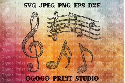 Music Svg, Zentangle SVG, Sheet music Mandala Svg, Cricut